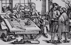Woodcut counting table