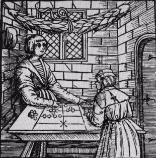 Woodcut showing a counting table